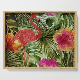 Tropical Vintage Exotic Jungle- Floral and Flamingo watercolor pattern Serving Tray
