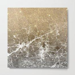 Vintage black white gold glitter marble Metal Print