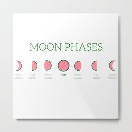 Watermelon Moon Phases Metal Print