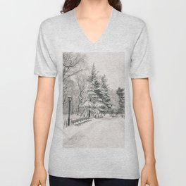 New York City Winter Trees in Snow Unisex V-Neck