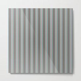Retro Stripes Mauve and Light Blue Metal Print