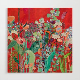 Red floral Jungle Garden Botanical featuring Proteas, Reeds, Eucalyptus, Ferns and Birds of Paradise Wood Wall Art