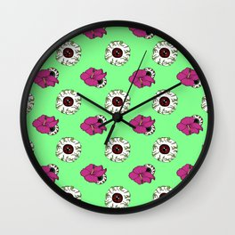Hibiscus Eyeball Repeat in Zombie Green Wall Clock