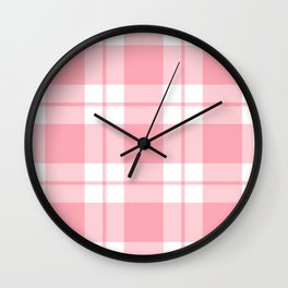 Gingham Plaid (Pastel Red) Wall Clock