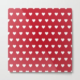 Polka Dot Hearts - red and white Metal Print