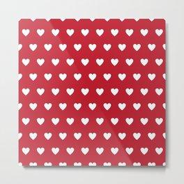 Polka Dot Hearts - red and white Metal Print