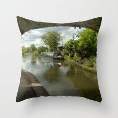 Barge thro the bridge Throw Pillow