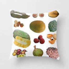 Exotic Fruit Collage Throw Pillow