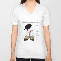 tom waits V-neck T-shirts featuring VISIBLE TOM WAITS by Jim Lockey