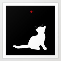 Cat and Laser Cute Minimalistic Animal Portrait Art Print
