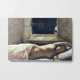 'Overflow,' Female Nude Portrait painting by Andrew Wyeth Metal Print
