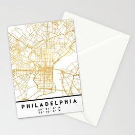 PHILADELPHIA PENNSYLVANIA CITY STREET MAP ART Stationery Cards