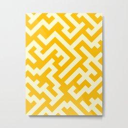 Cream Yellow and Amber Orange Diagonal Labyrinth Metal Print