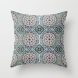 Traditional, old ceramic tiles with abstract pattern. Vintage glazed tiles Throw Pillow