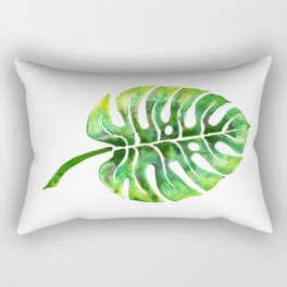 Monstera Green Leaf Rectangular Pillow