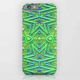 Pointy pattern in green, yellow, and blue iPhone Case