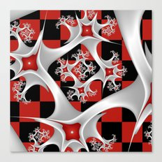 Red Black and White, Fractal Art Canvas Print
