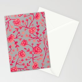 Watercolor Peonies - Coral Stationery Cards