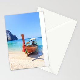 Long tail boat on white sand beach land Stationery Cards