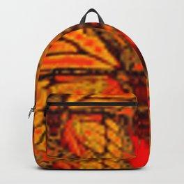 GOLDEN MONARCH BUTTERFLIES ABSTRACT RED ART Backpack