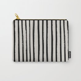 Vertical Black and White Watercolor Stripes Carry-All Pouch