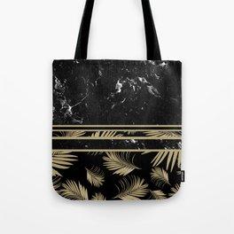 Black Marble Meets Tropical Palms #1 #decor #art #society6 Tote Bag