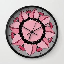Rose, Pink & Gray Mandala Wall Clock