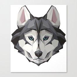 Triangular Geometric Siberian Husky Head Canvas Print