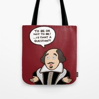 shakespeare Tote Bags featuring Shakespeare by evannave
