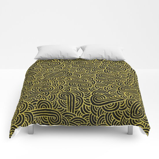 Black and faux gold swirls doodles Comforters