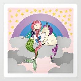 Mermaid-Unicorn Art Print