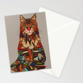 maine coon cat taupe Stationery Cards