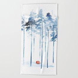 Sleeping in the woods Beach Towel