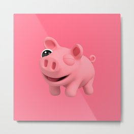 Rosa the Pig Winks Metal Print