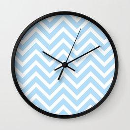 Chevron Stripes : Blue & White Wall Clock