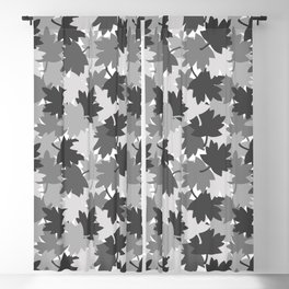 Camo Gray Leaves Blackout Curtain