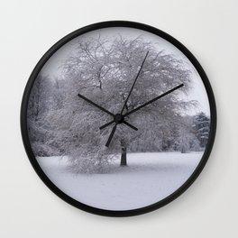 Tree and snow Wall Clock