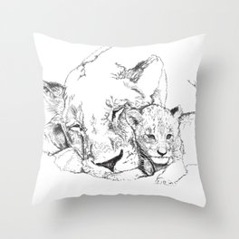 Lioness and Cub Throw Pillow