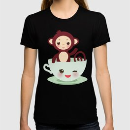 Cute Kawai pink cup with brown monkey T-shirt