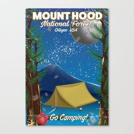 Mount Hood, Oregon Camping travel poster Canvas Print
