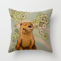 otter Throw Pillows featuring Otter by AlexandraDesCotes