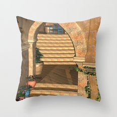 Old Town Stairs and Arches Throw Pillow