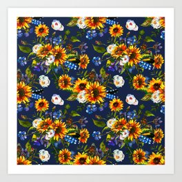 Modern yellow orange blue watercolor sunflower floral pattern Art Print