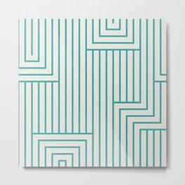 Aqua Teal Turquoise Art Deco Solid Color Pattern 2 Alabaster White - Aquarium SW 6767 Metal Print