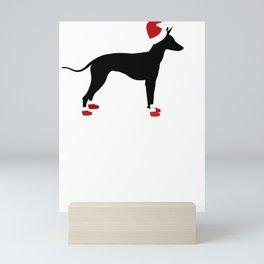 Christmas Pets Dog Silhouette in Santa Hat and Santa Boots Christmas Dog Mini Art Print