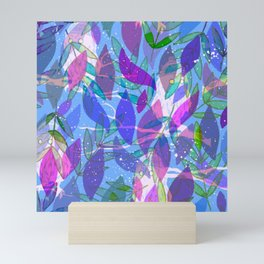 modern leaves pattern Mini Art Print