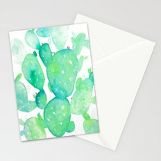 Teal Watercolour Cactus Stationery Cards