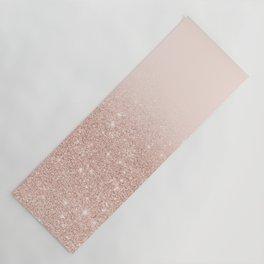 Rose gold faux glitter pink ombre color block Yoga Mat