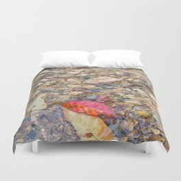 Red Leaf Stuck Among Watery Rocks Duvet Cover