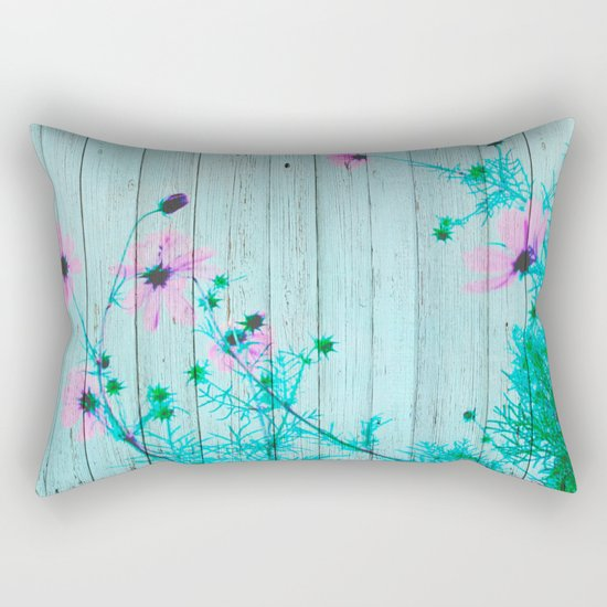 Sweet Flowers on Wood 03 Rectangular Pillow